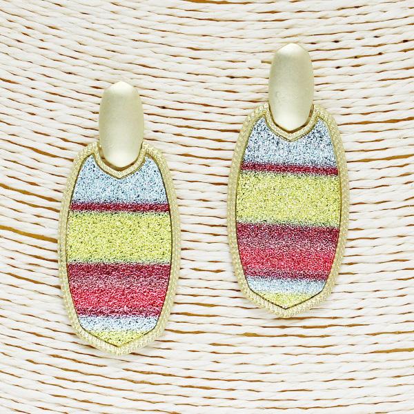 86508_Mat Gold/Multi, glitter stripe geometric earring