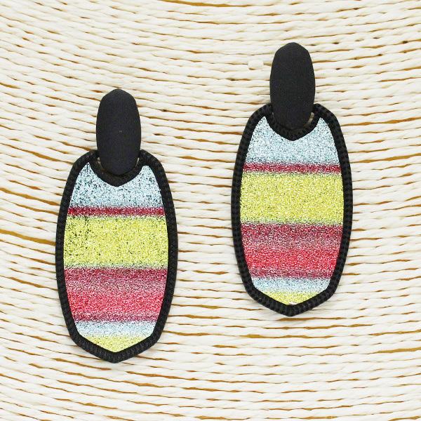 86508_Black/Multi, glitter stripe geometric earring