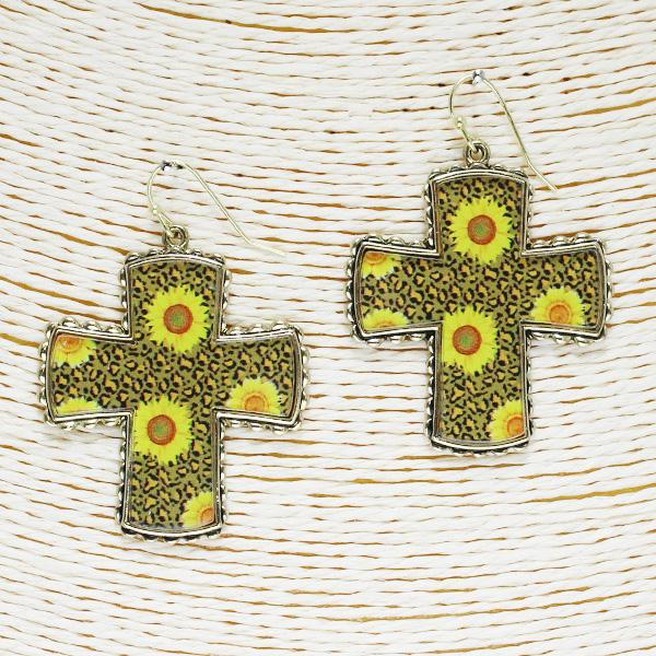 86509_Antique Gold/Brown, Sunflower n leopard cross acrylic earring