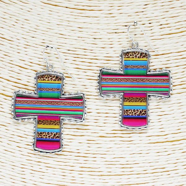 86509_Antique Silver/Multi, Serape n leopard cross acrylic earring