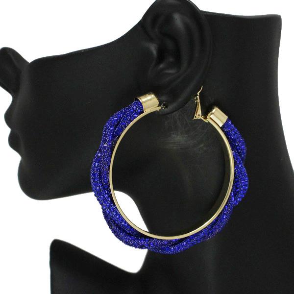 86537_Blue, 60mm pave rhinestone hoop earring