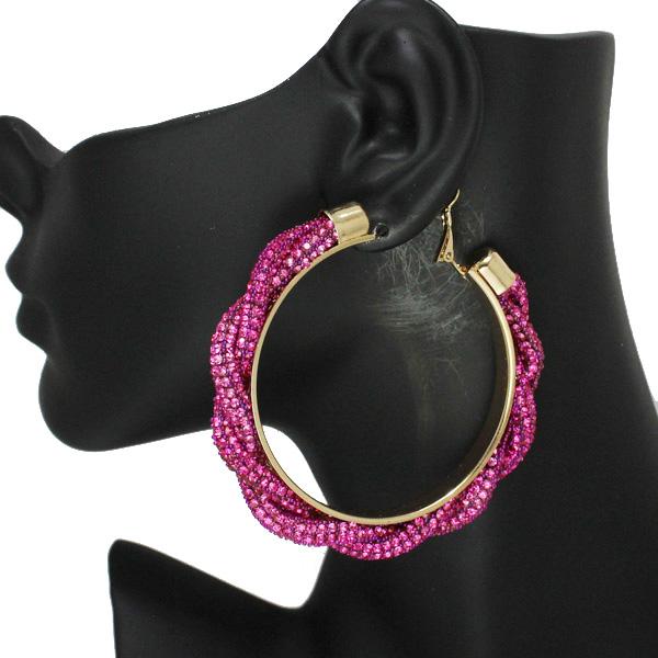 86537_Pink, 60mm pave rhinestone hoop earring