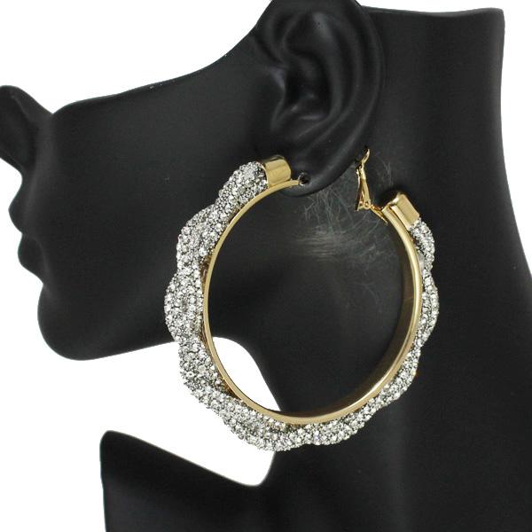 86537_Gold/Clear, 60mm pave rhinestone hoop earring