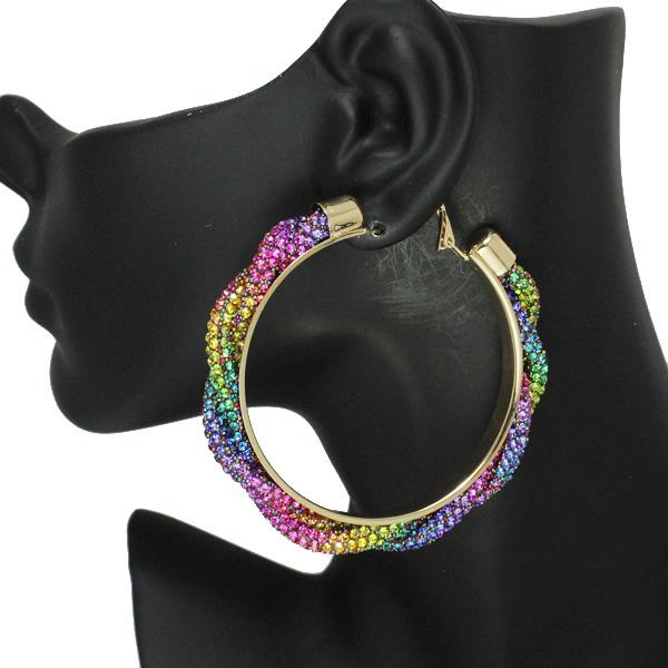 86537_Multi, 60mm pave rhinestone hoop earring
