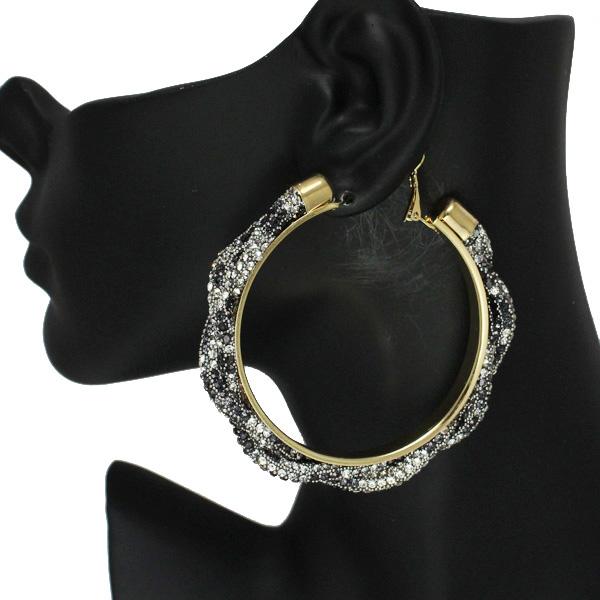 86537_Black Leopard, 60mm pave rhinestone hoop earring