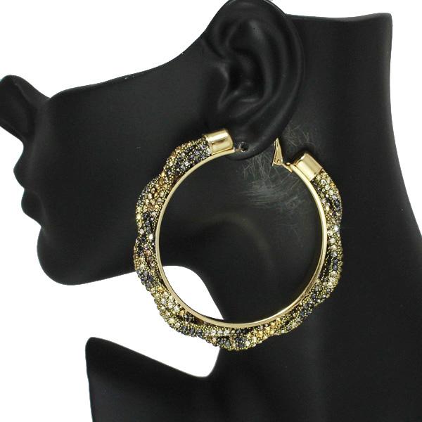 86537_Brown Leopard, 60mm pave rhinestone hoop earring