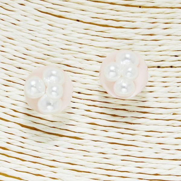 86561_Lt Pink, pearls in bubble stud earring