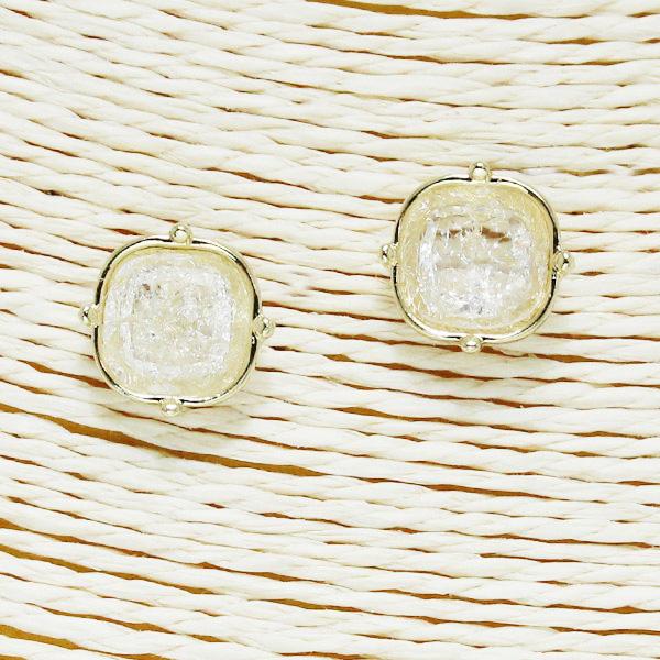 86562_Gold/White, glitter square stud earring