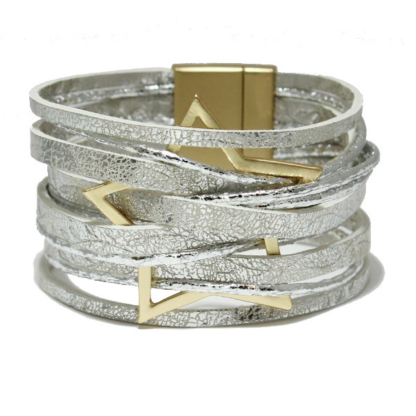 86563_Silver, star faux leather magnetic close bracelet