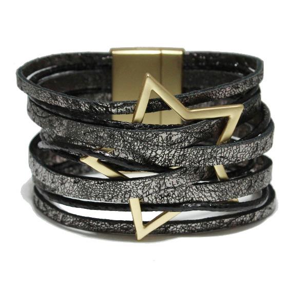 86563_Hematite, star faux leather magnetic close bracelet