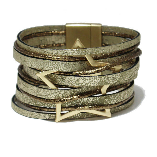 86563_Brown, star faux leather magnetic close bracelet