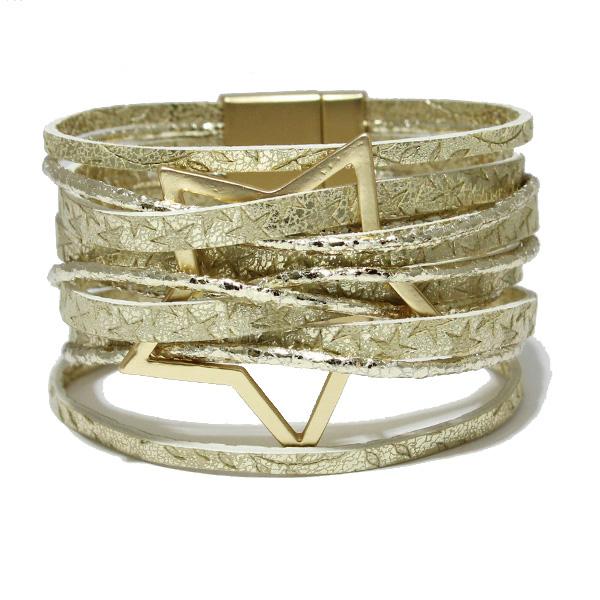 86563_Gold, star faux leather magnetic close bracelet