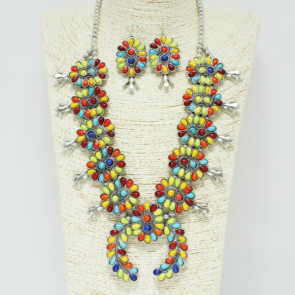 84621_Silver Burnished/Multi, western semi precious squash blossom necklace