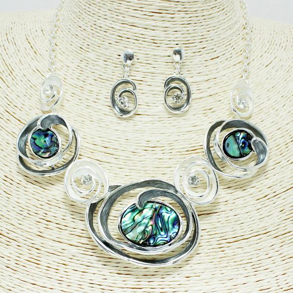 87238_Silver/Grey, swirl w/ abalone necklace