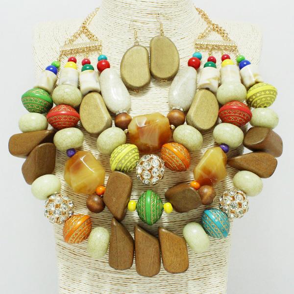 87242_Multi, wood n rhinestone ball statement necklace