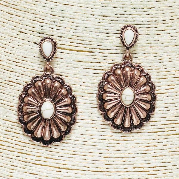 84222_Copper Burnished/White, western concho semi precious stone earring