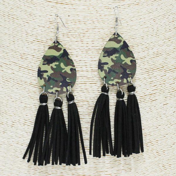 84254_Multi 16, camouflage print wooden tassel earring