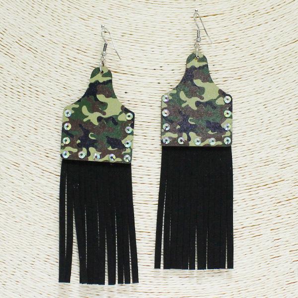 84255_Camo -MUL3, leopard print wooden tassel earring