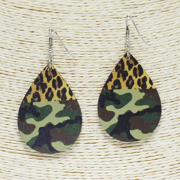 84259_Multi 7, camouflage n leopard teardrop wooden earring