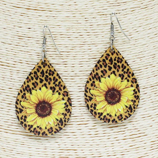 84259_Multi 4, sunflower n leopard teardrop wooden earring