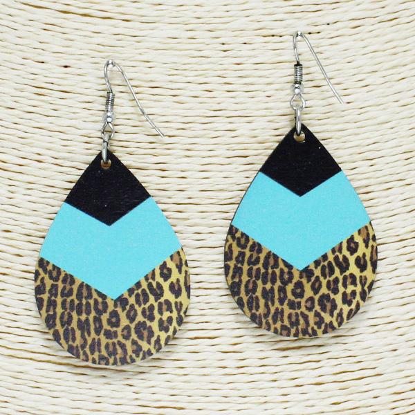 84259_Multi 10, serape n leopard teardrop wooden earring
