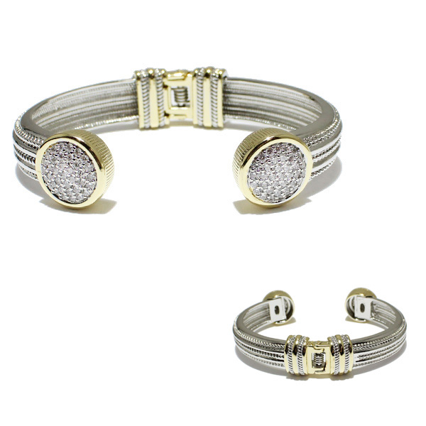 84768_Two tone/Clear -BK, pave designer inspired cuff bracelet *cubic zirconia