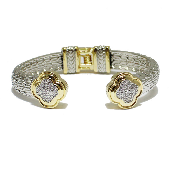 85188_Two tone/Clear, quatrefoil designer inspired cuff bracelet