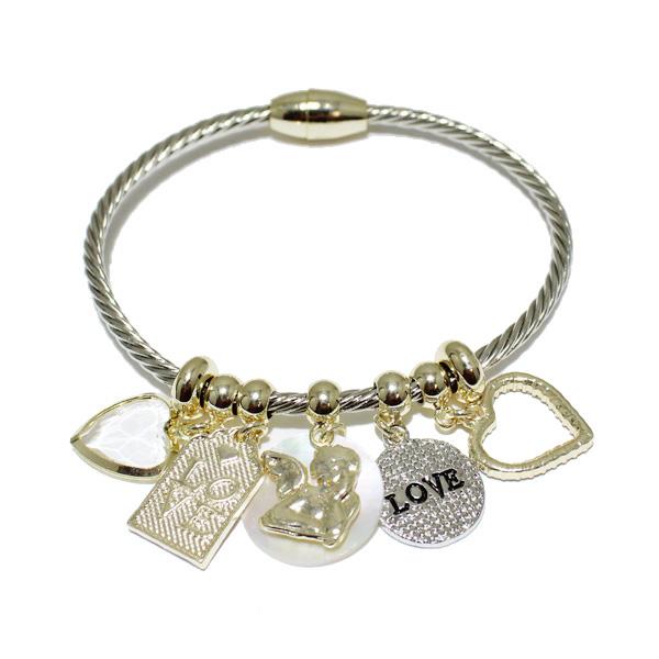 85191_Two tone, love charm designer inspired bracelet