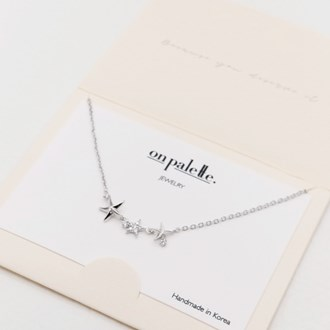 87715_Silver/Clear, dainty pave starfish necklace