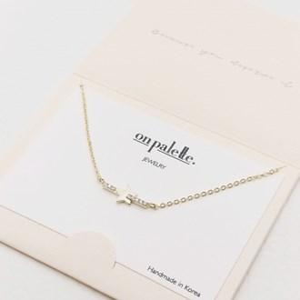 87716_Gold/Clear, dainty pave star w/ rhinestone bar necklace
