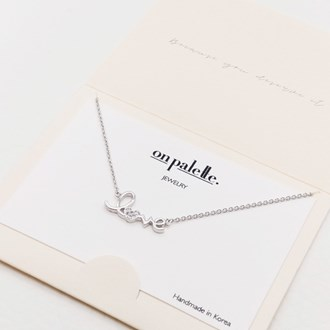 """87717_Silver/Clear, dainty """"love"""" pave heart necklace"""
