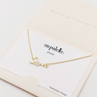 """87717_Gold/Clear, dainty """"love"""" pave heart necklace"""