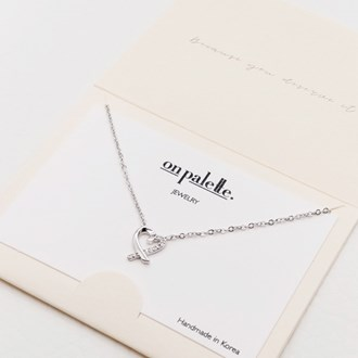 87718_Silver/Clear, dainty half pave heart pendant necklace