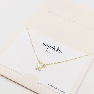 87718_Gold/Clear, dainty half pave heart pendant necklace