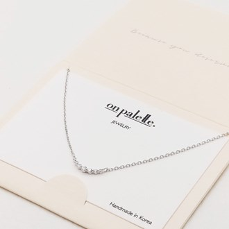 87719_Silver/Clear, dainty pave rhinestone necklace
