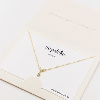 87720_Gold/Clear, dainty pave teardrop accent necklace