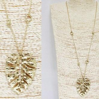87721_Worn Gold, hammered leaf metal pendant long necklace