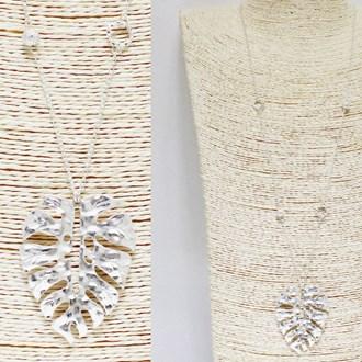 87721_Worn Silver, hammered leaf metal pendant long necklace