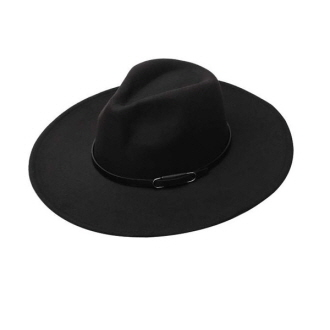 86038_Black, faux wool felt hat w/ leather trim
