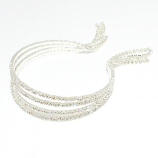79888_Silver/Clear, rhinestone cuff bracelet