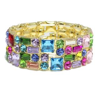 82441_Gold/Multi, rhinestone stretchable bracelet