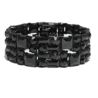 82441_Black, rhinestone stretchable bracelet